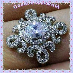 Jewelry - 🆕💎1 Ct Oval Elegant Scroll WGP CLEAR CZ Ring💎